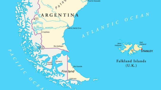 Karte Südamerika und Falklandinseln
