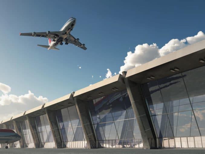 Flugzeug über Flughafen
