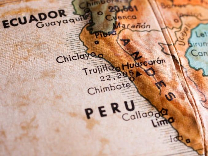 Peru auf einer alten Landkarte